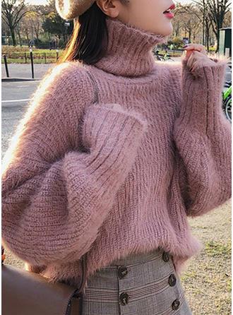 Piel Cuello De Tortuga Color sólido Suéteres