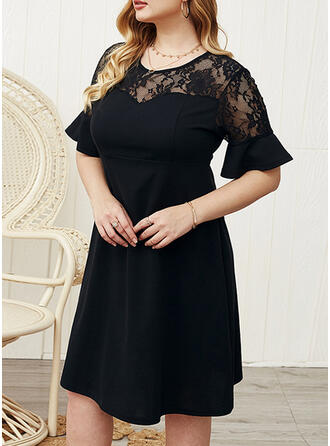 Lace/Solid 1/2 Sleeves/Flare Sleeves A-line Knee Length Little Black/Party/Plus Size Dresses