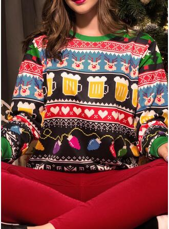 Women's Cotton Blends Print Reindeer Christmas Sweatshirt