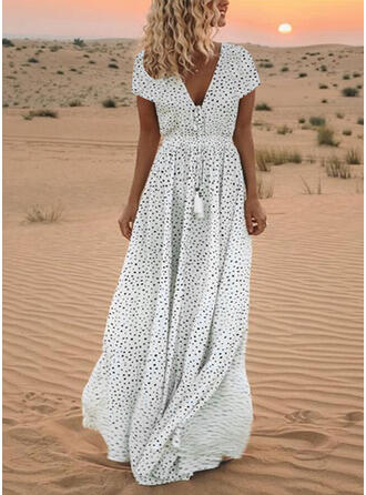 PolkaDot Short Sleeves A-line Maxi Casual/Party/Vacation Dresses