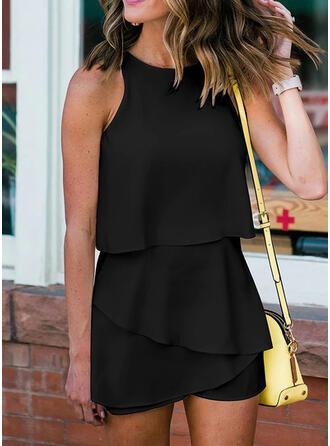 Solid Sleeveless Casual/Elegant Dresses