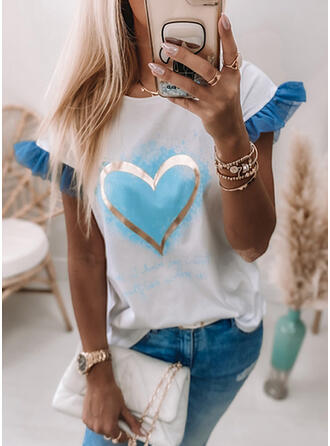 Print Heart Round Neck Short Sleeves Casual Blouses (1003365734)