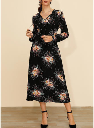 Print/Floral Long Sleeves A-line Midi Casual/Elegant Dresses
