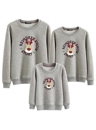 Narodzenie Deer Wydrukować Szczotkowane podszewki Rodzinne Dopasowanie Bluzy