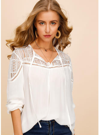 Lace V-Neck Long Sleeves Casual Elegant Blouses