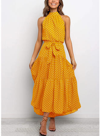 PolkaDot Sleeveless A-line Casual/Vacation Midi Dresses