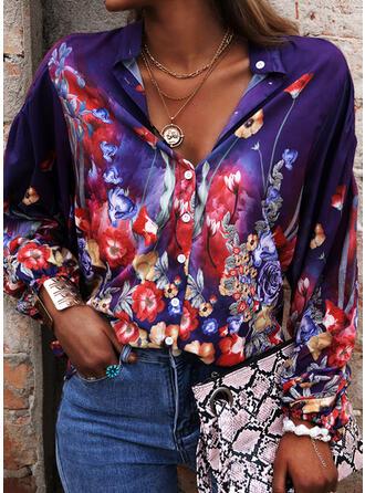 Impresión Floral Cuello en V Mangas 3/4 Con Botones Casual Blusas