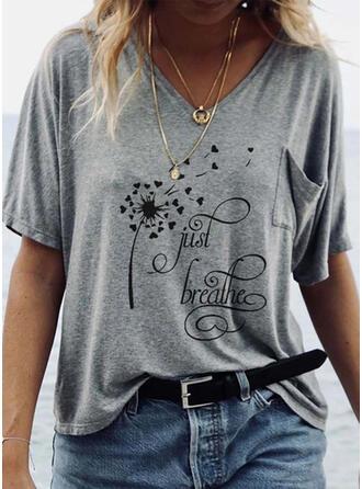 Paardebloem Figuur Hart Print V-hals Korte Mouwen T-shirts