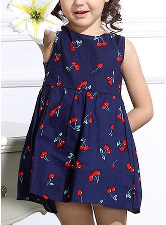 Chicas Cuello redondo Impresión Casual Vestido