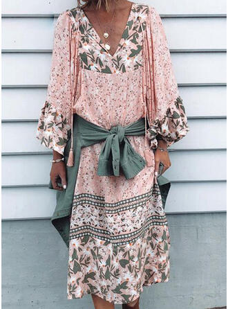 Print/Floral Long Sleeves/Flare Sleeves Shift Casual/Vacation Midi Dresses