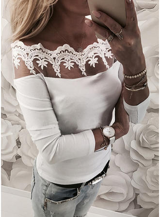 Solide Off the Shoulder Lange Mouwen Casual Polka Prik Blouses