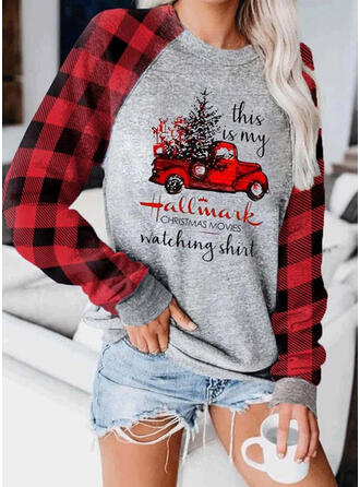 Print Grid Figure Round Neck Long Sleeves Christmas Sweatshirt