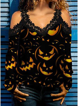 Halloween baskı Csipke Lezser Uzun kollu hideg váll hüvely Alkalmi Blúzok