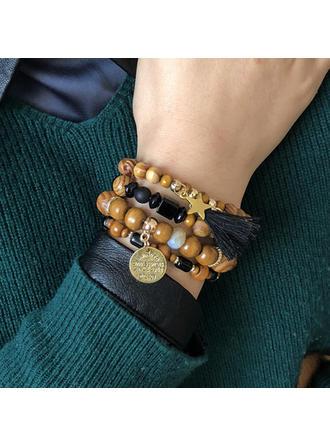 Mooi In de mode Exotisch Legering Houten Kralen Uniseks Armbanden (Set van 4)