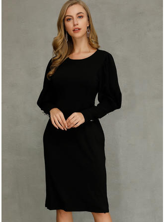 Solid Long Sleeves Sheath Little Black/Sexy/Party Midi Dresses