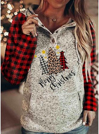 Grid Leopard Figur Lommer Lange ærmer Jule sweatshirt