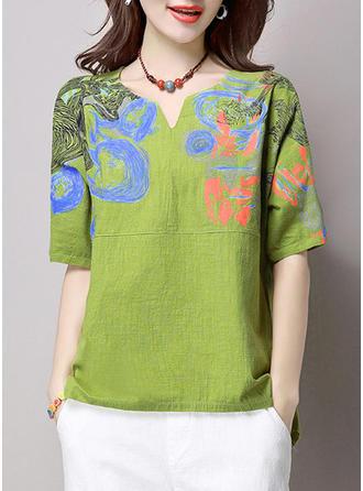 Cotton Linen V Neck Print Short Sleeves Casual Blouses