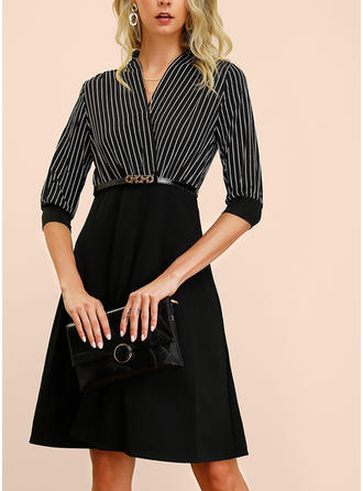 Striped 1/2 Sleeves A-line Knee Length Party/Elegant Dresses