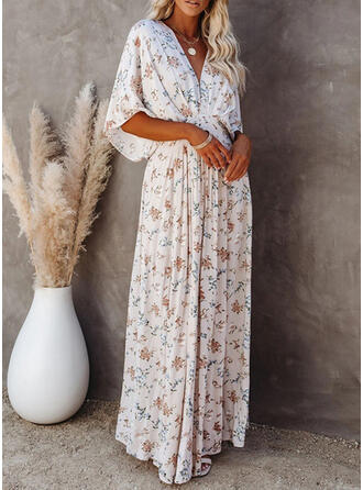 Print/Floral 1/2 Sleeves/Batwing Sleeves A-line Casual/Vacation Maxi Dresses