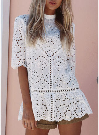 Lace High Neck Lace 1/2 Sleeves Casual Blouses