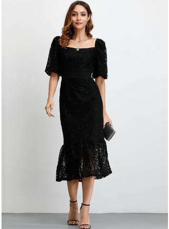 Lace/Solid 1/2 Sleeves Sheath Midi Little Black/Party/Elegant Dresses