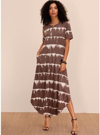 Print Short Sleeves Shift Asymmetrical Casual Dresses