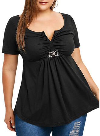 Solid Round Neck Short Sleeves Casual Plus Size T-shirts