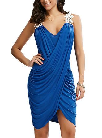 Lace Strap Asymmetrical Sheath Dress