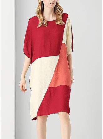 Color-block Round Neck Knee Length Shift Dress