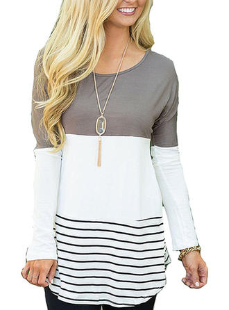 Cotton Round Neck Striped Sweater