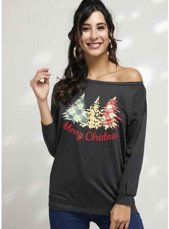 Nadruk Na jedno ramię Długie rękawy Casual Boże Narodzenie T-shirty