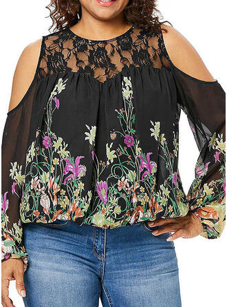 Print Floral Lace Cold Shoulder Long Sleeves Casual Plus Size Blouses