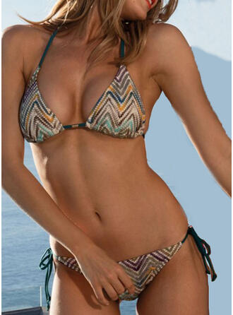 Stripe Splice color Lace Up V-Neck Strapless Sexy Bohemian Classic Exquisite Bikinis Swimsuits