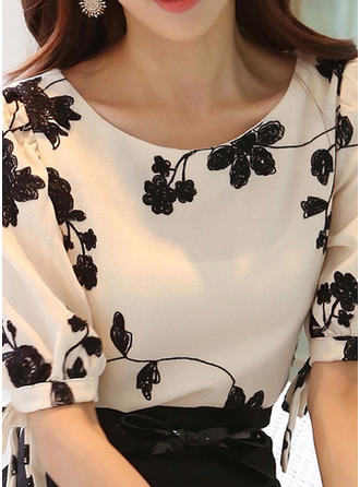 Print Round Neck 1/2 Sleeves Casual Elegant Blouses