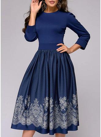 Print 3/4 Sleeves A-line Midi Casual/Elegant Dresses