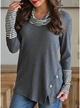 Patchwork Striped Round Neck Long Sleeves Button Up Casual Knit Blouses