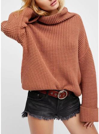 Cotone Dolcevita Colore solido maglia grossa Maglioni