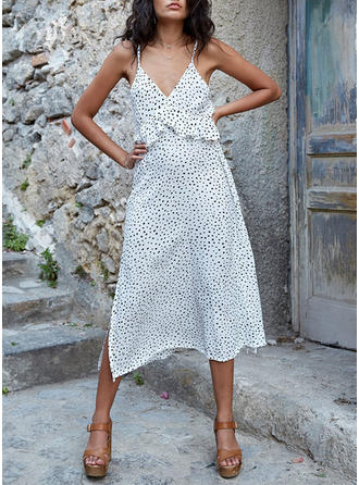 PolkaDot Sleeveless A-line Midi Casual/Vacation Dresses