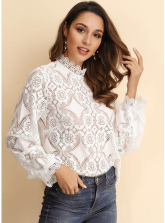 Lace Stand-up Collar Long Sleeves Blouses