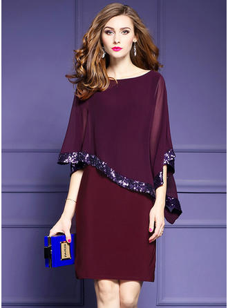 Chiffon With Sequins Knee Length Dress