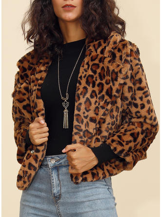 Polyester Long Sleeves Animal Print Woolen Coats