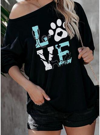 Animal Print Figure Heart One Shoulder Long Sleeves T-shirts
