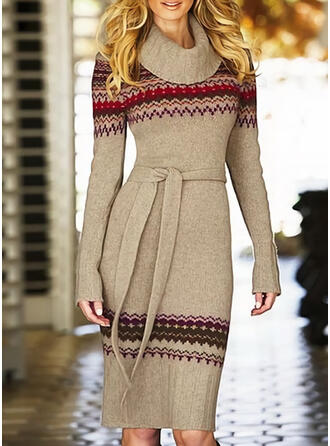 Print Long Sleeves Sheath Knee Length Casual Sweater Dresses