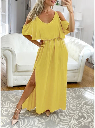 Solid 1/2 Sleeves/Cold Shoulder Sleeve A-line Casual/Vacation Maxi Dresses