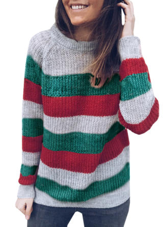 Polyester Round Neck Striped chunky knit Sweater