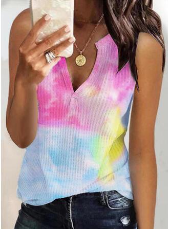 Tie Dye Dekolt w kształcie litery V Bez Rękawów Koszulki bez rękawów