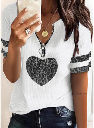 Print Leopard Heart V-Neck Short Sleeves Casual Blouses