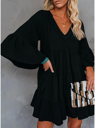 Solid 3/4 Sleeves/Flare Sleeves Shift Above Knee Little Black/Casual/Elegant Dresses