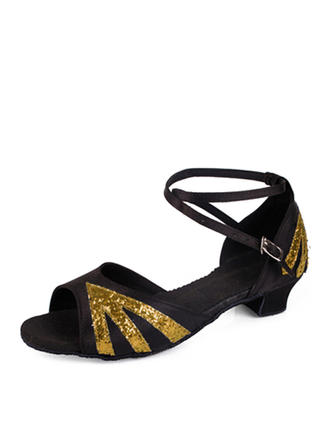 Women's Satin Sparkling Glitter Heels Latin With Buckle Dance Shoes