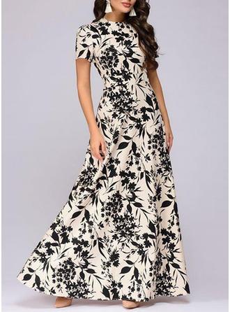 Print/Floral Short Sleeves A-line Maxi Casual/Elegant Dresses